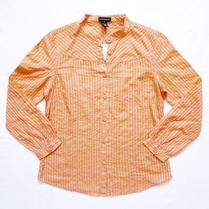 Striped Semi-Sheer Button Down/Up Shirt/Top/Blouse